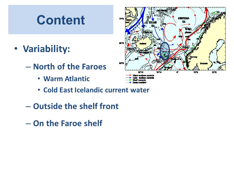 Content Variability: – North of the Faroes Warm Atlantic Cold East Icelandic current water – Outside the shelf front – On the Faroe shelf