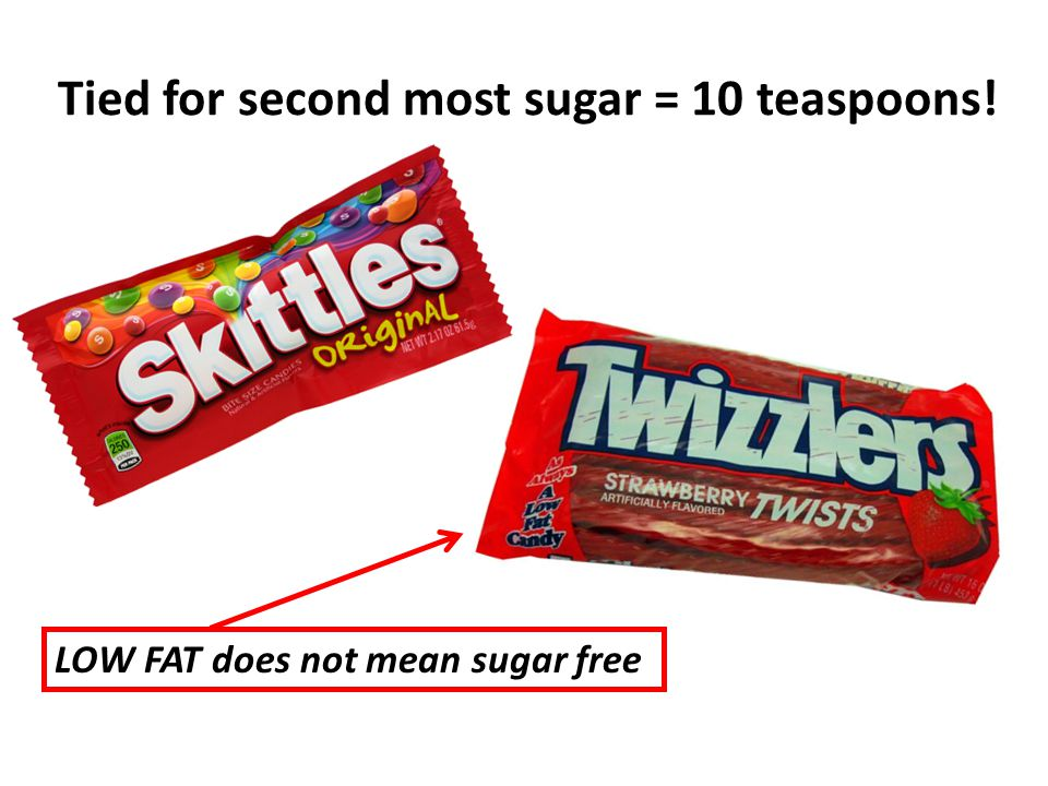 Tied for second most sugar = 10 teaspoons! LOW FAT does not mean sugar free