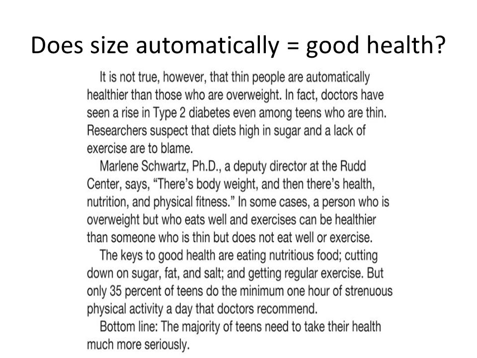 Does size automatically = good health