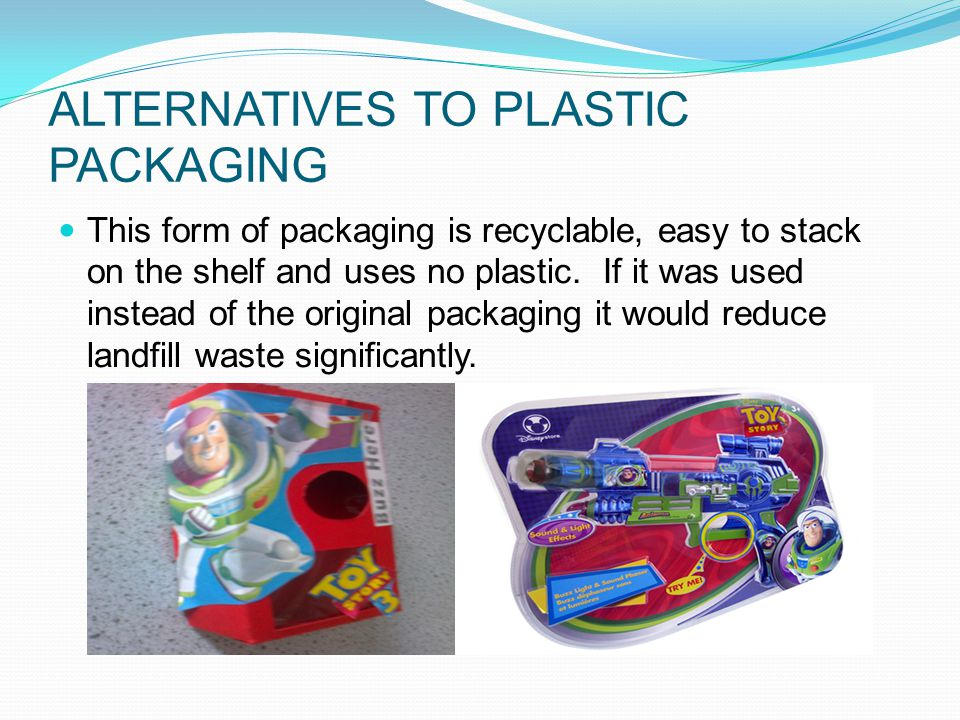 ALTERNATIVES TO PLASTIC PACKAGING This form of packaging is recyclable, easy to stack on the shelf and uses no plastic.