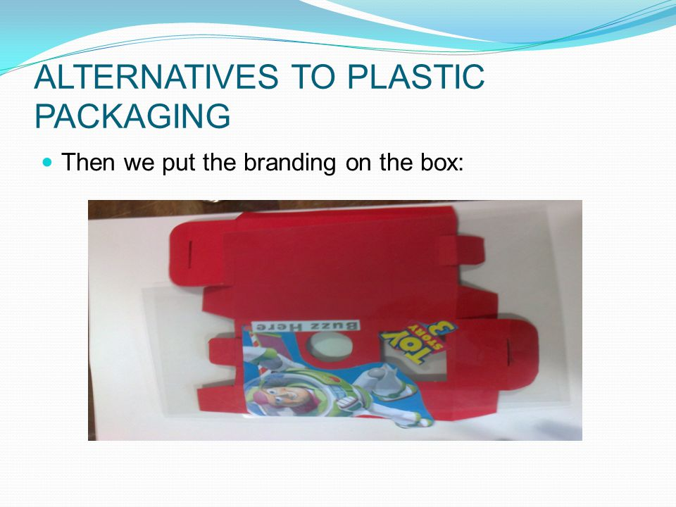 ALTERNATIVES TO PLASTIC PACKAGING Then we put the branding on the box: