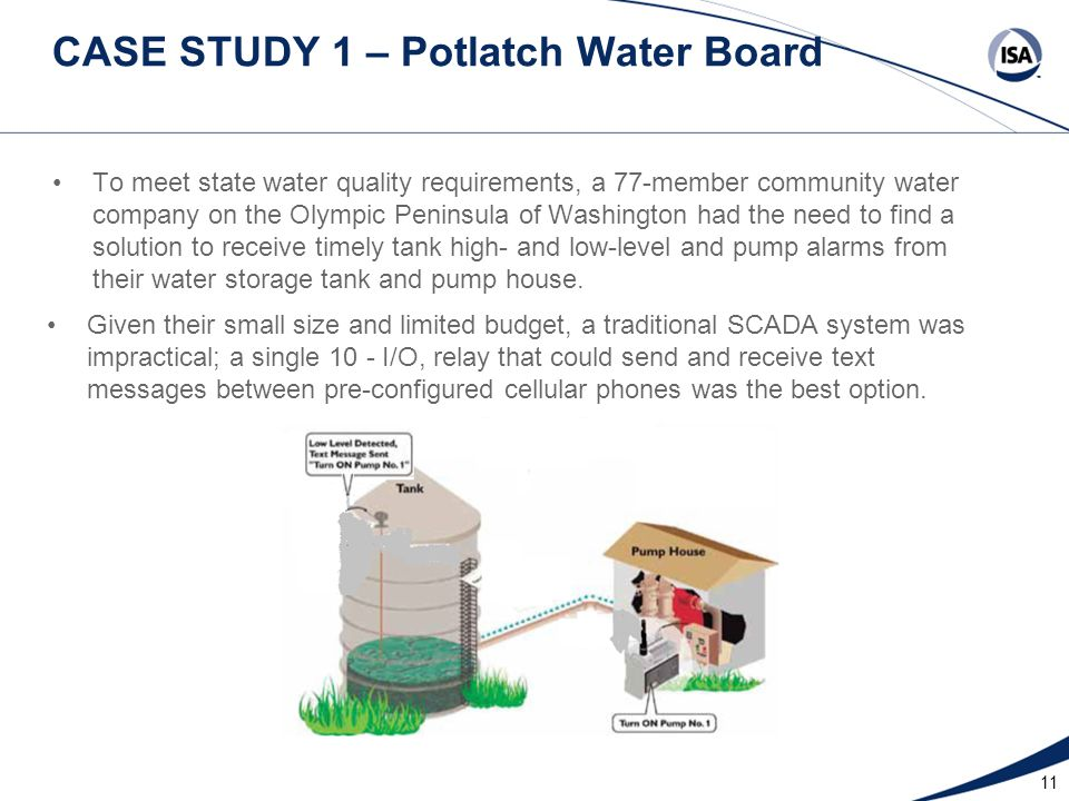11 CASE STUDY 1 – Potlatch Water Board To meet state water quality requirements, a 77-member community water company on the Olympic Peninsula of Washington had the need to find a solution to receive timely tank high- and low-level and pump alarms from their water storage tank and pump house.