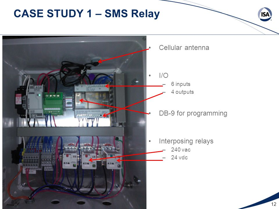 12 CASE STUDY 1 – SMS Relay DB-9 for programming Interposing relays –240 vac –24 vdc Cellular antenna I/O –6 inputs –4 outputs
