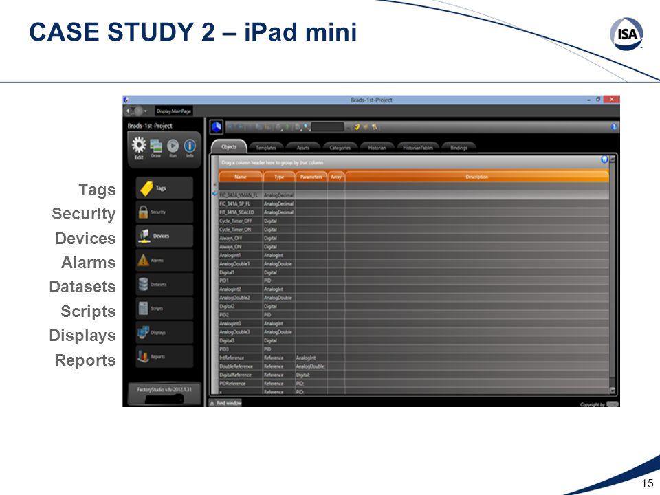 15 CASE STUDY 2 – iPad mini Datasets Reports Security Alarms Tags Devices Scripts Displays