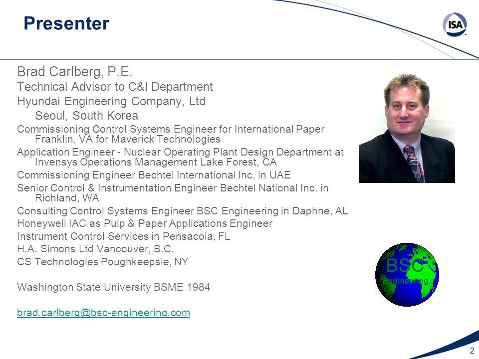 2 Presenter Brad Carlberg, P.E.