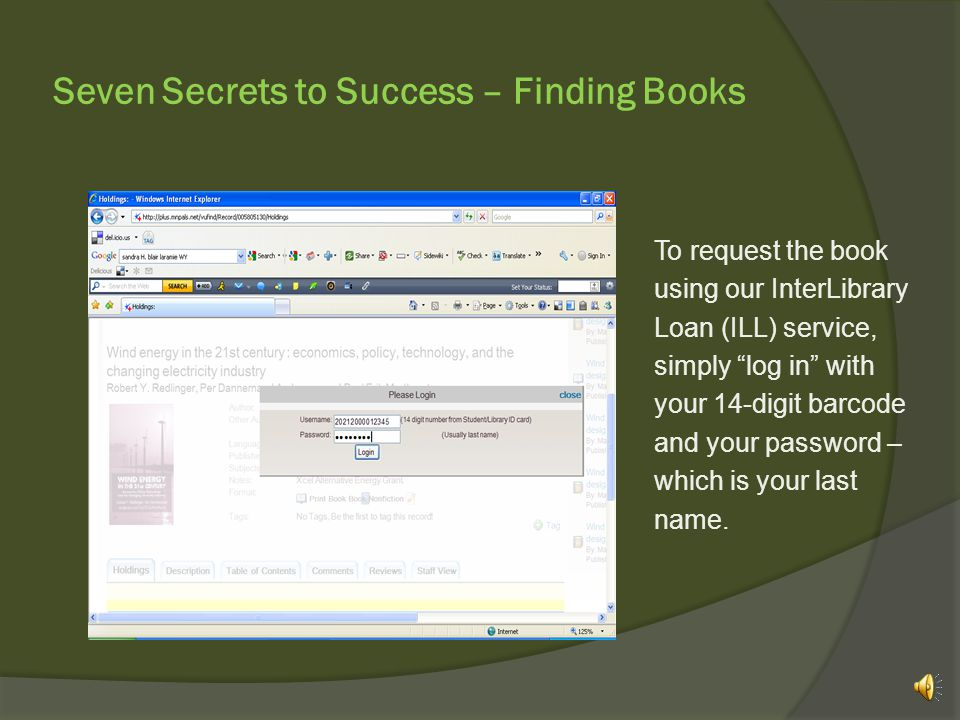 Seven Secrets to Success – Finding Books …and click on the title of the book you want!