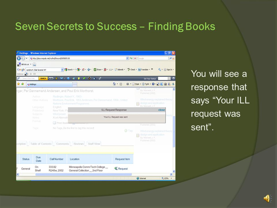 "Seven Secrets to Success – Finding Books …and then, ""Create ILL Request""."