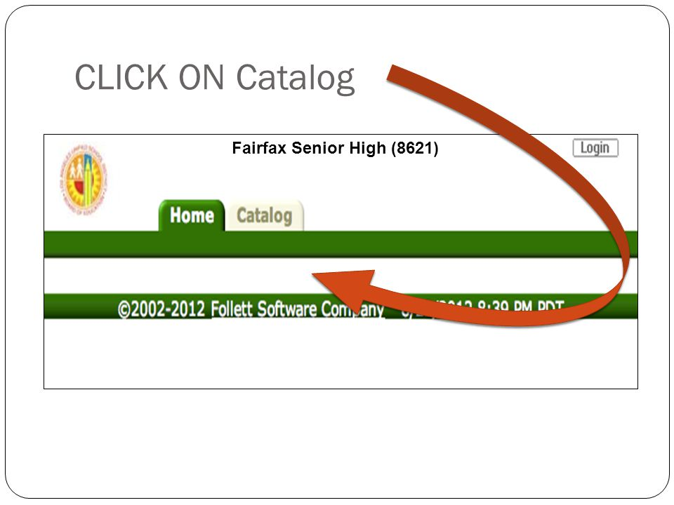 CLICK ON Catalog 4 Fairfax Senior High (8621)