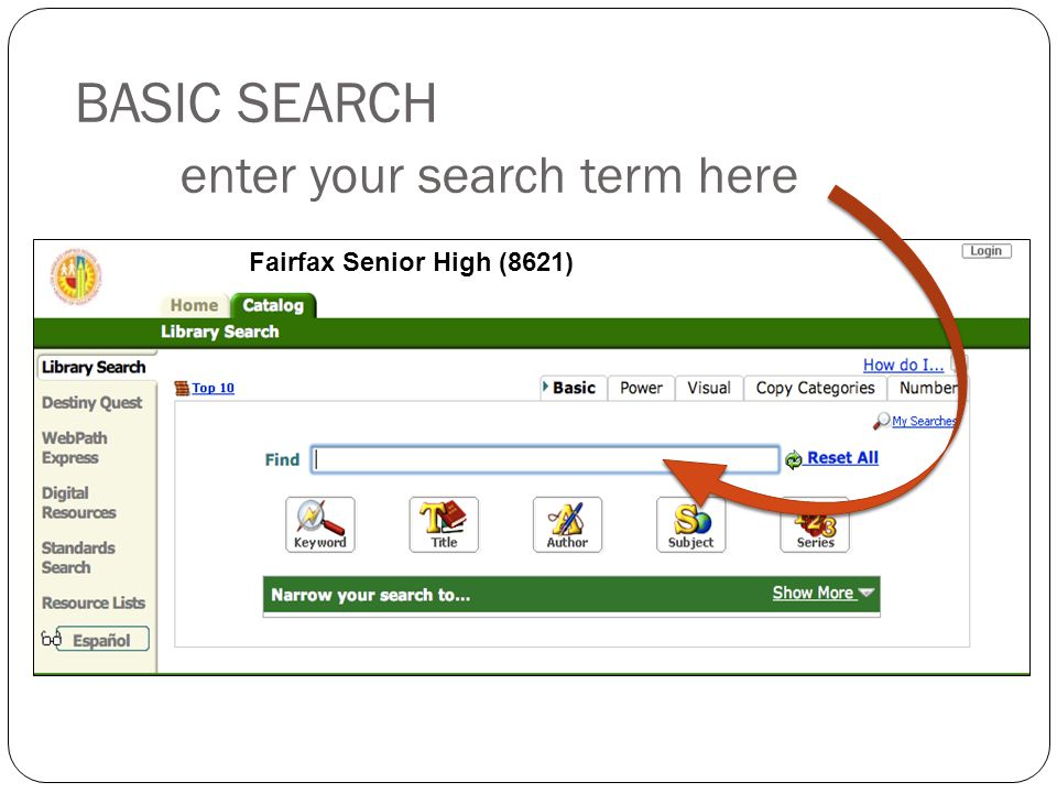 BASIC SEARCH enter your search term here 5 Fairfax Senior High (8621)