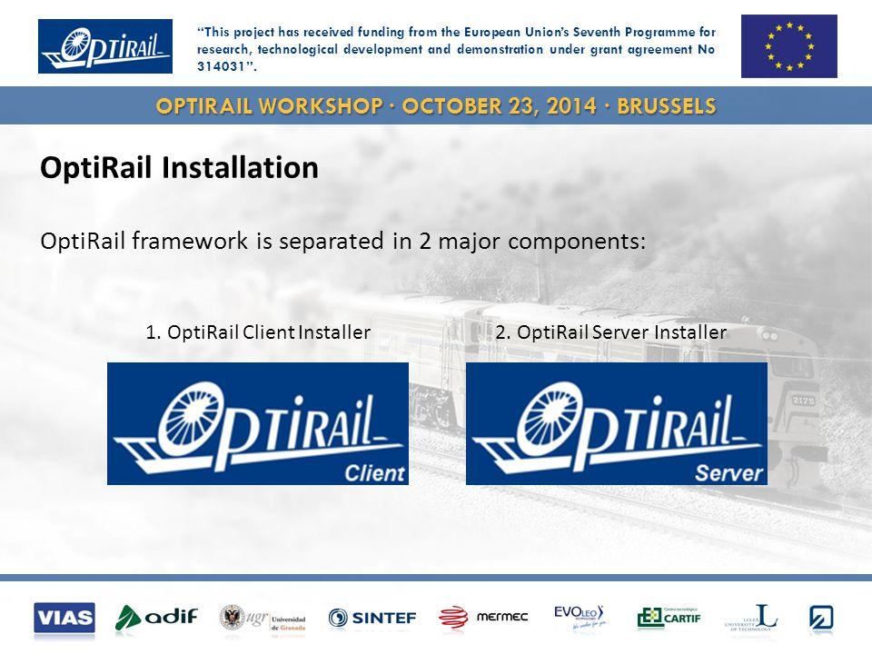 OPTIRAIL WORKSHOP · OCTOBER 23, 2014 · BRUSSELS OptiRail Installation OptiRail framework is separated in 2 major components: 2.
