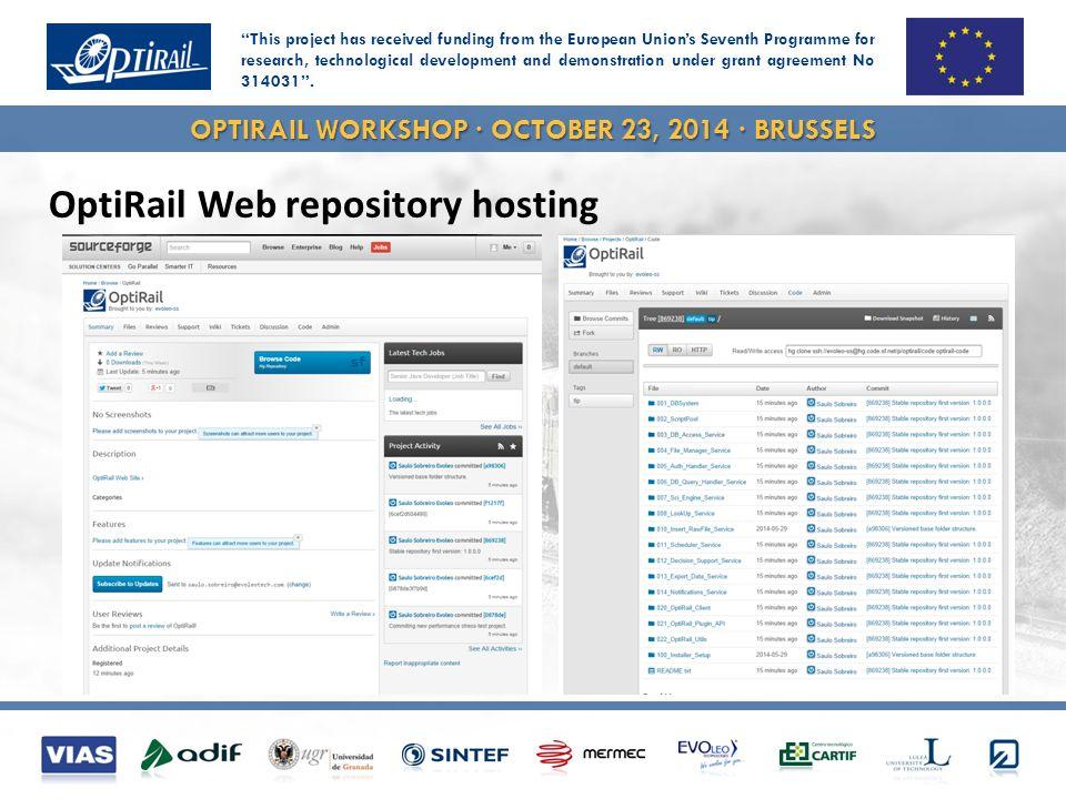 OPTIRAIL WORKSHOP · OCTOBER 23, 2014 · BRUSSELS OptiRail Web repository hosting