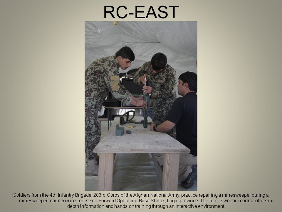 RC-EAST Soldiers from the 4th Infantry Brigade, 203rd Corps of the Afghan National Army, practice repairing a minesweeper during a minesweeper maintenance course on Forward Operating Base Shank, Logar province.