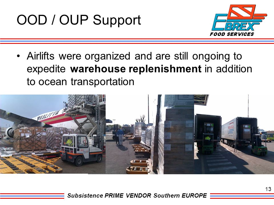 Subsistence PRIME VENDOR Southern EUROPE Airlifts were organized and are still ongoing to expedite warehouse replenishment in addition to ocean transp
