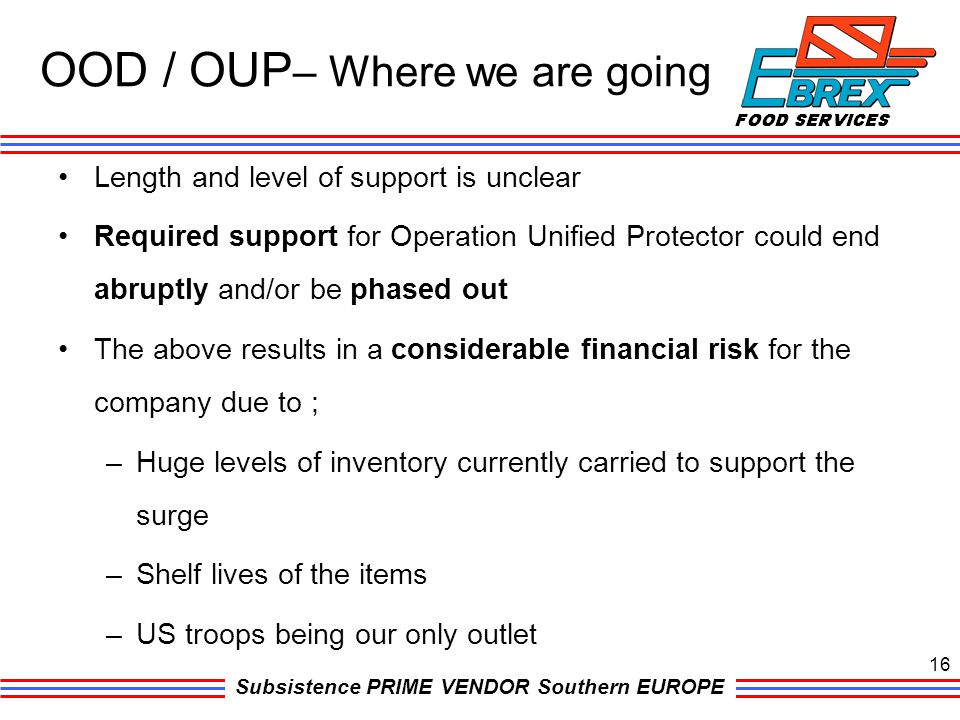 Subsistence PRIME VENDOR Southern EUROPE Length and level of support is unclear Required support for Operation Unified Protector could end abruptly an