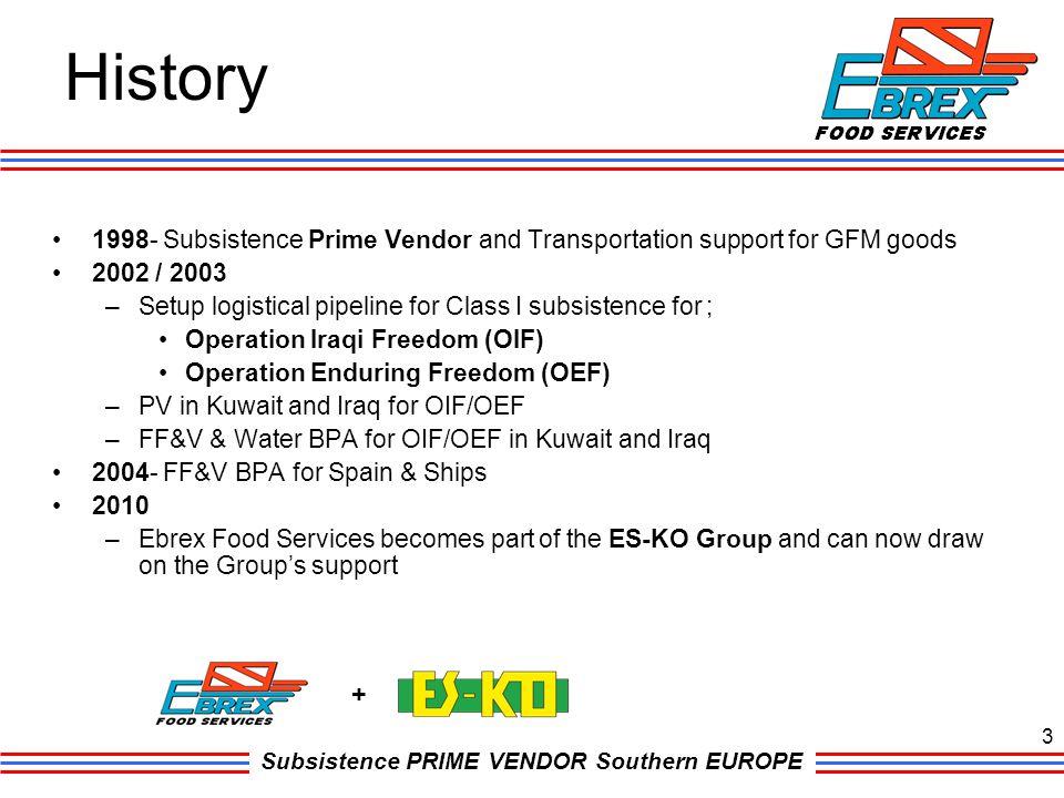 Subsistence PRIME VENDOR Southern EUROPE History 3 + 1998- Subsistence Prime Vendor and Transportation support for GFM goods 2002 / 2003 –Setup logist