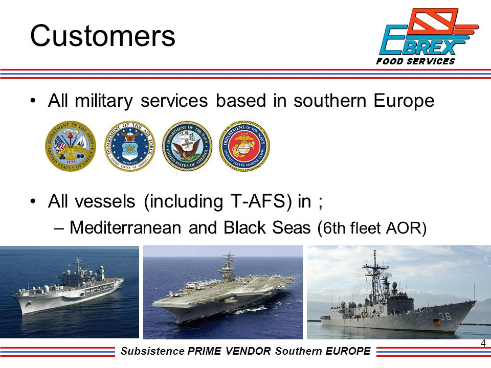 Subsistence PRIME VENDOR Southern EUROPE Customers All military services based in southern Europe All vessels (including T-AFS) in ; –Mediterranean an