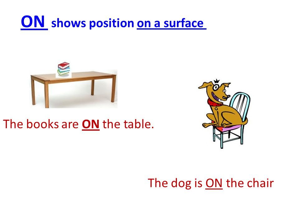 The books are ON the table. ON shows position on a surface The dog is ON the chair
