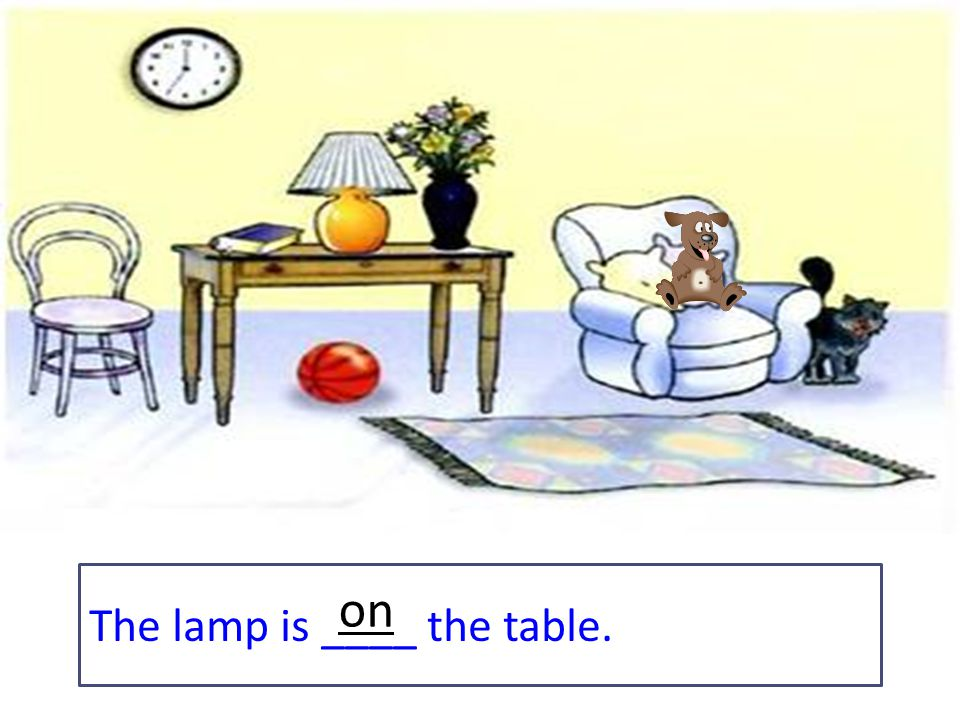 The lamp is ____ the table. on