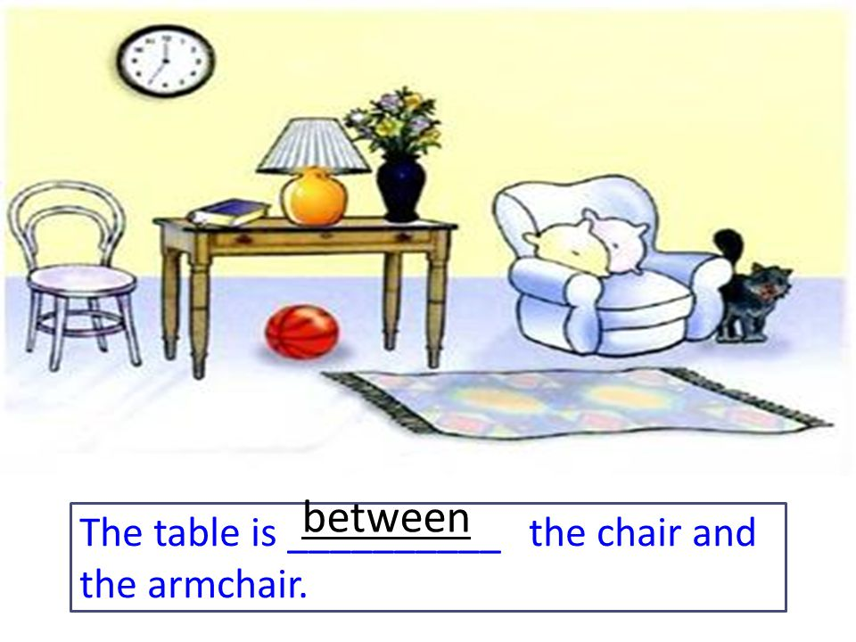 The table is __________ the chair and the armchair. between