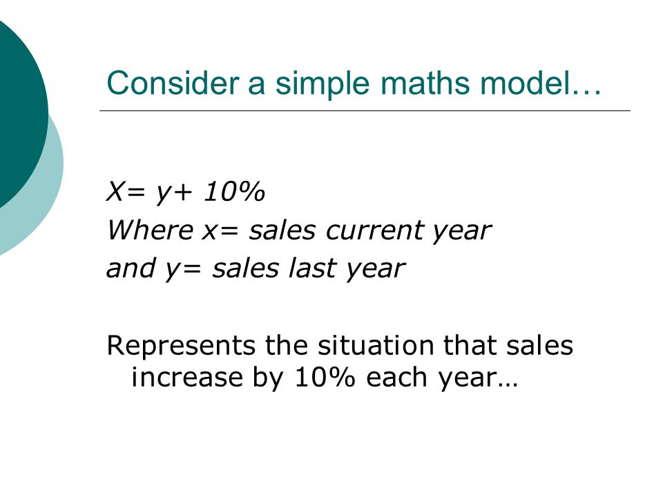 Consider a simple maths model… X= y+ 10% Where x= sales current year and y= sales last year Represents the situation that sales increase by 10% each year…