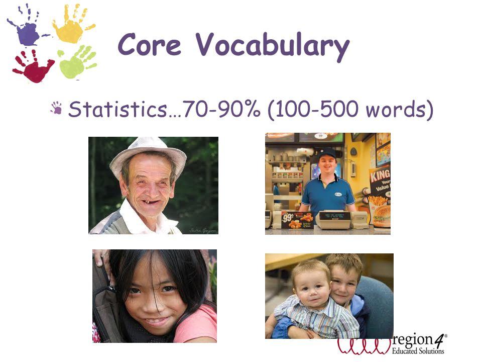 Core Vocabulary Statistics…70-90% (100-500 words)