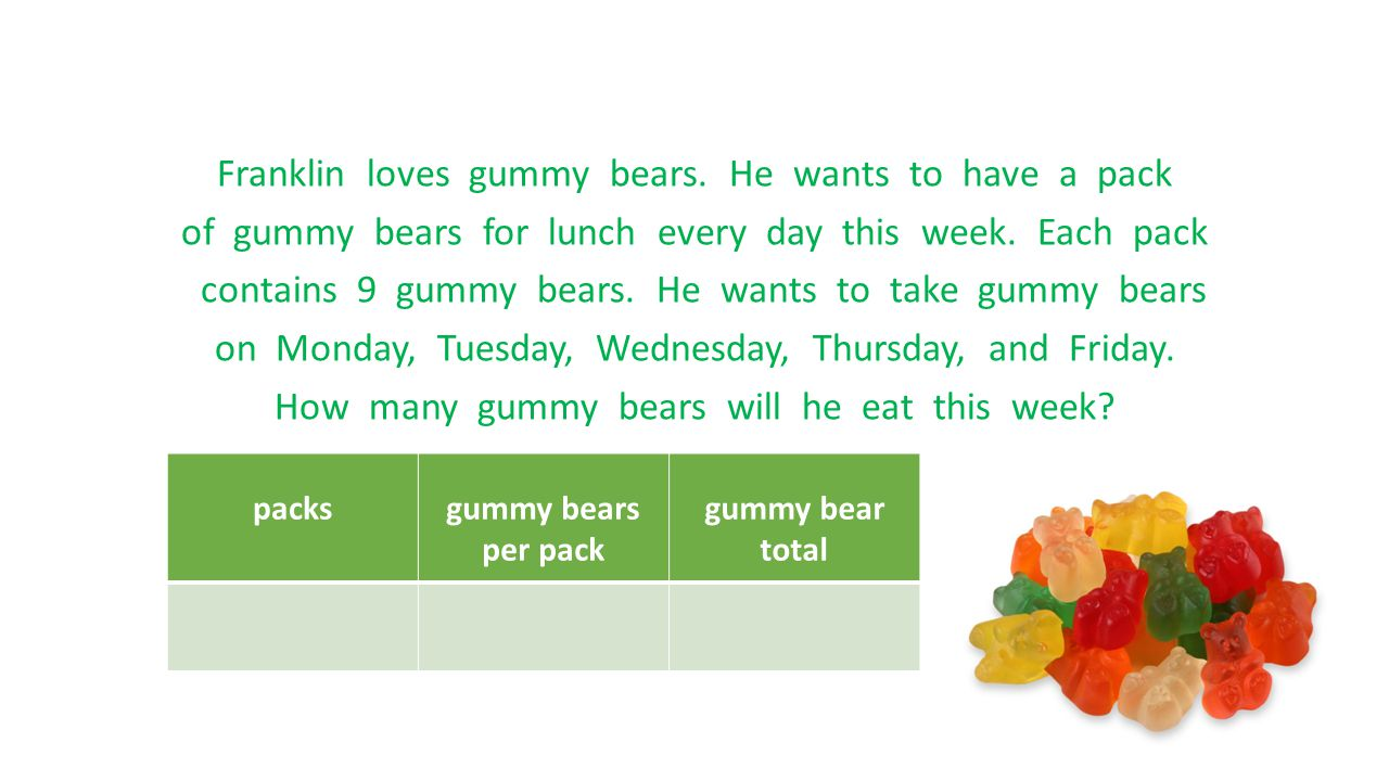 Franklin loves gummy bears. He wants to have a pack of gummy bears for lunch every day this week. Each pack contains 9 gummy bears. He wants to take g