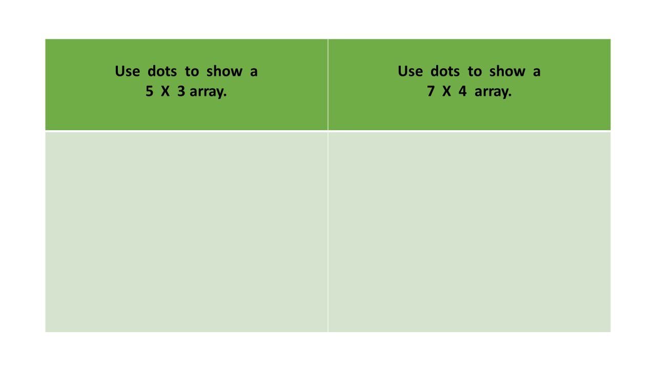 Use dots to show a 5 X 3 array. Use dots to show a 7 X 4 array.