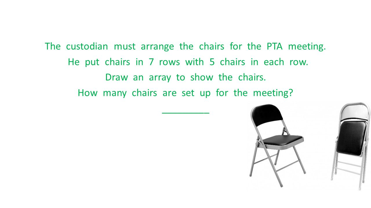 The custodian must arrange the chairs for the PTA meeting. He put chairs in 7 rows with 5 chairs in each row. Draw an array to show the chairs. How ma