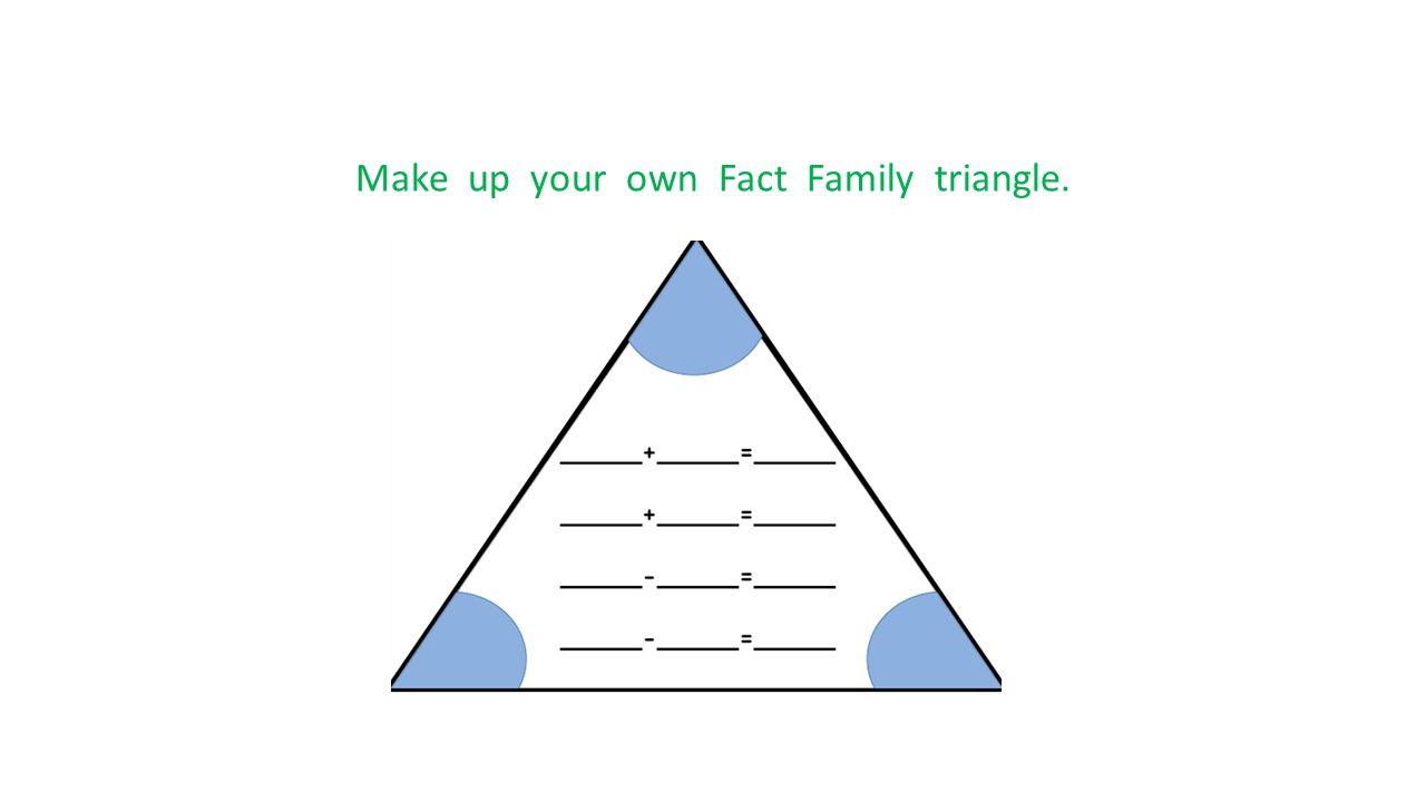 Make up your own Fact Family triangle.