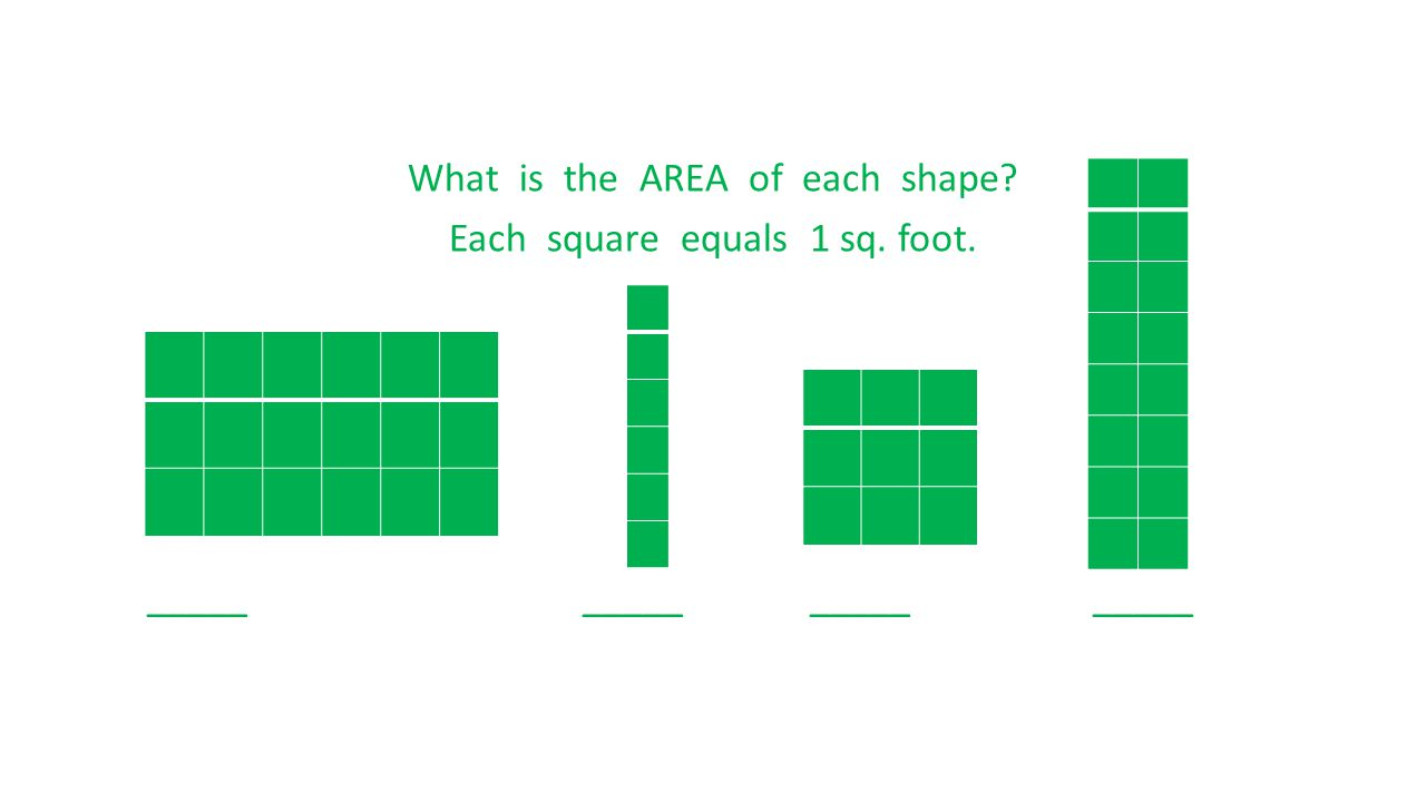 What is the AREA of each shape? Each square equals 1 sq. foot. _____ _____ _____ _____