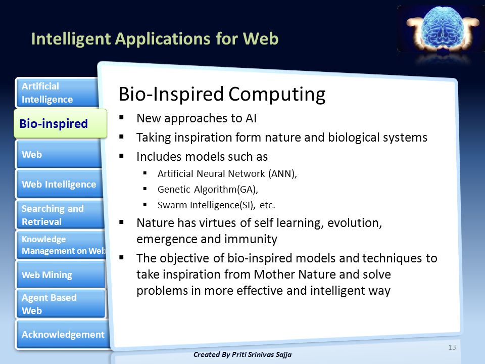 Intelligent Applications for Web Bio-inspired Web Web Intelligence Searching and Retrieval Searching and Retrieval Knowledge Management on Web Knowledge Management on Web Web Mining Web Mining Agent Based Web Agent Based Web Acknowledgement Artificial Intelligence Artificial Intelligence Bio-Inspired Computing  New approaches to AI  Taking inspiration form nature and biological systems  Includes models such as  Artificial Neural Network (ANN),  Genetic Algorithm(GA),  Swarm Intelligence(SI), etc.