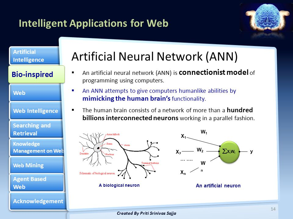 Intelligent Applications for Web Bio-inspired Web Web Intelligence Searching and Retrieval Searching and Retrieval Knowledge Management on Web Knowledge Management on Web Web Mining Web Mining Agent Based Web Agent Based Web Acknowledgement Artificial Intelligence Artificial Intelligence Artificial Neural Network (ANN)  An artificial neural network (ANN) is connectionist model of programming using computers.
