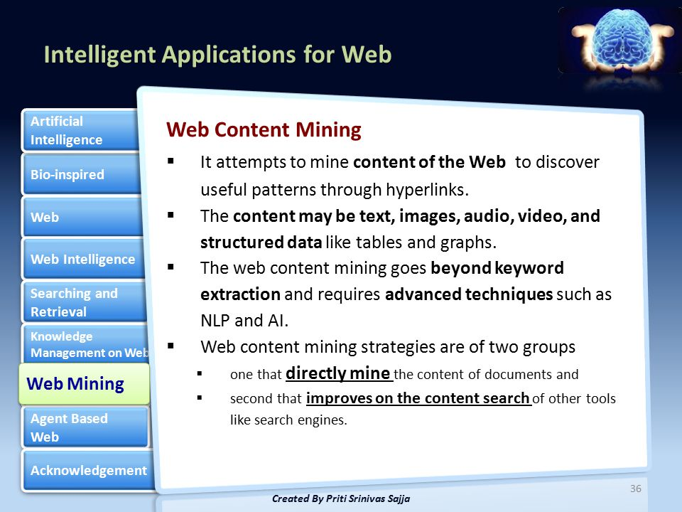 Intelligent Applications for Web Bio-inspired Web Web Intelligence Searching and Retrieval Searching and Retrieval Knowledge Management on Web Knowledge Management on Web Web Mining Web Mining Agent Based Web Agent Based Web Acknowledgement Artificial Intelligence Artificial Intelligence Web Content Mining  It attempts to mine content of the Web to discover useful patterns through hyperlinks.