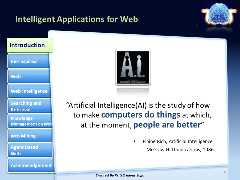 Intelligent Applications for Web Bio-inspired Web Web Intelligence Searching and Retrieval Searching and Retrieval Knowledge Management on Web Knowledge Management on Web Web Mining Web Mining Agent Based Web Agent Based Web Acknowledgement Artificial Intelligence Artificial Intelligence 4 Created By Priti Srinivas Sajja Introduction Artificial Intelligence(AI) is the study of how to make computers do things at which, at the moment, people are better Elaine Rich, Artificial Intelligence, McGraw Hill Publications, 1986