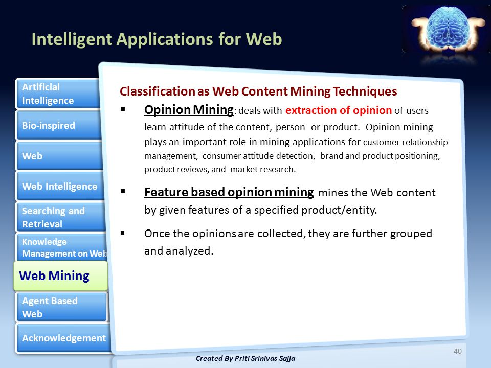 Intelligent Applications for Web Bio-inspired Web Web Intelligence Searching and Retrieval Searching and Retrieval Knowledge Management on Web Knowledge Management on Web Web Mining Web Mining Agent Based Web Agent Based Web Acknowledgement Artificial Intelligence Artificial Intelligence Classification as Web Content Mining Techniques  Opinion Mining : deals with extraction of opinion of users learn attitude of the content, person or product.