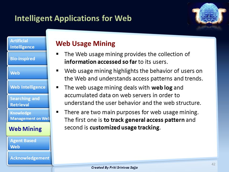 Intelligent Applications for Web Bio-inspired Web Web Intelligence Searching and Retrieval Searching and Retrieval Knowledge Management on Web Knowledge Management on Web Web Mining Web Mining Agent Based Web Agent Based Web Acknowledgement Artificial Intelligence Artificial Intelligence Web Usage Mining  The Web usage mining provides the collection of information accessed so far to its users.