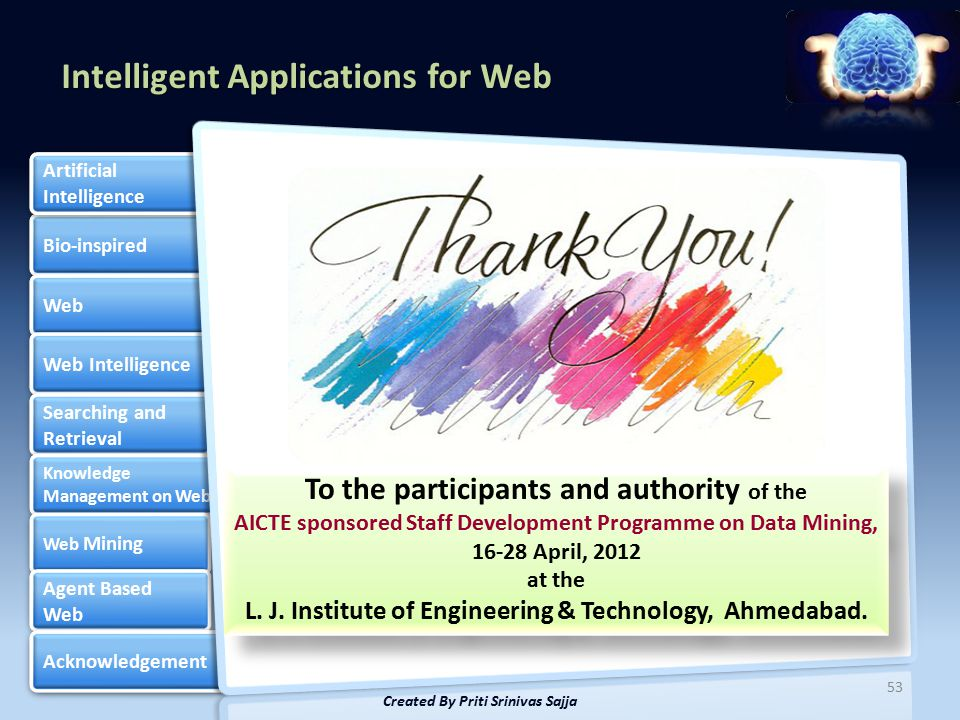 Intelligent Applications for Web Bio-inspired Web Web Intelligence Searching and Retrieval Searching and Retrieval Knowledge Management on Web Knowledge Management on Web Web Mining Web Mining Agent Based Web Agent Based Web Acknowledgement Artificial Intelligence Artificial Intelligence 53 Created By Priti Srinivas Sajja To the participants and authority of the AICTE sponsored Staff Development Programme on Data Mining, 16-28 April, 2012 at the L.