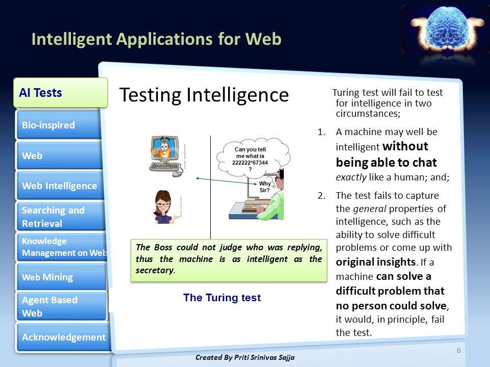 Intelligent Applications for Web Bio-inspired Web Web Intelligence Searching and Retrieval Searching and Retrieval Knowledge Management on Web Knowledge Management on Web Web Mining Web Mining Agent Based Web Agent Based Web Acknowledgement Artificial Intelligence Artificial Intelligence 6 Created By Priti Srinivas Sajja Testing Intelligence AI Tests Turing test will fail to test for intelligence in two circumstances; 1.A machine may well be intelligent without being able to chat exactly like a human; and; 2.The test fails to capture the general properties of intelligence, such as the ability to solve difficult problems or come up with original insights.
