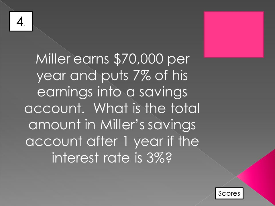 4.4. Scores Miller earns $70,000 per year and puts 7% of his earnings into a savings account.