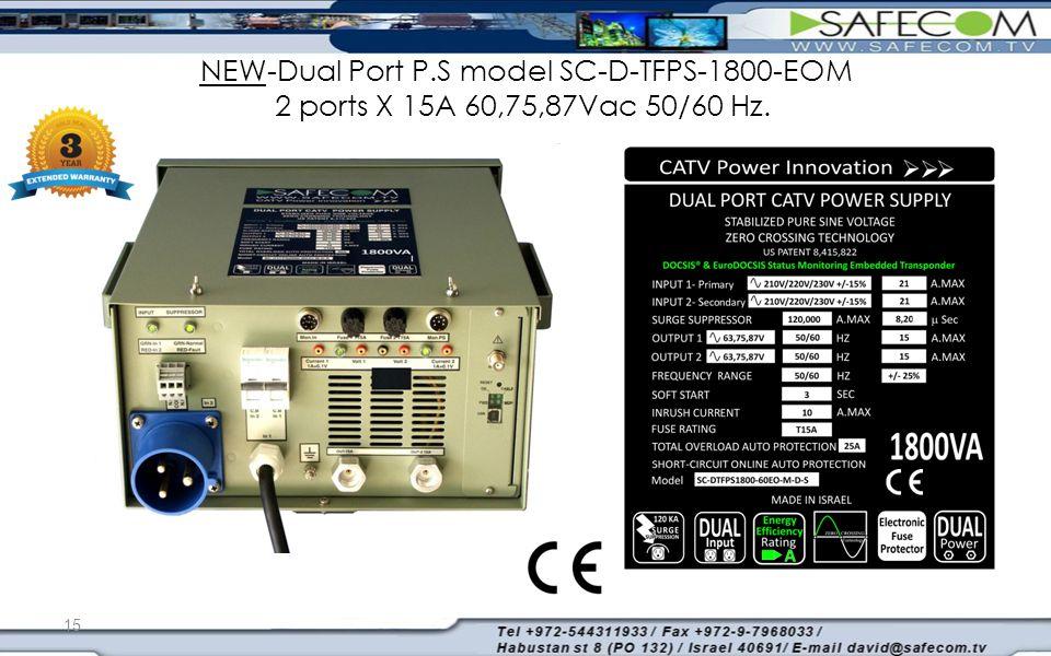 NEW-Dual Port P.S model SC-D-TFPS-1800-EOM 2 ports X 15A 60,75,87Vac 50/60 Hz. 15