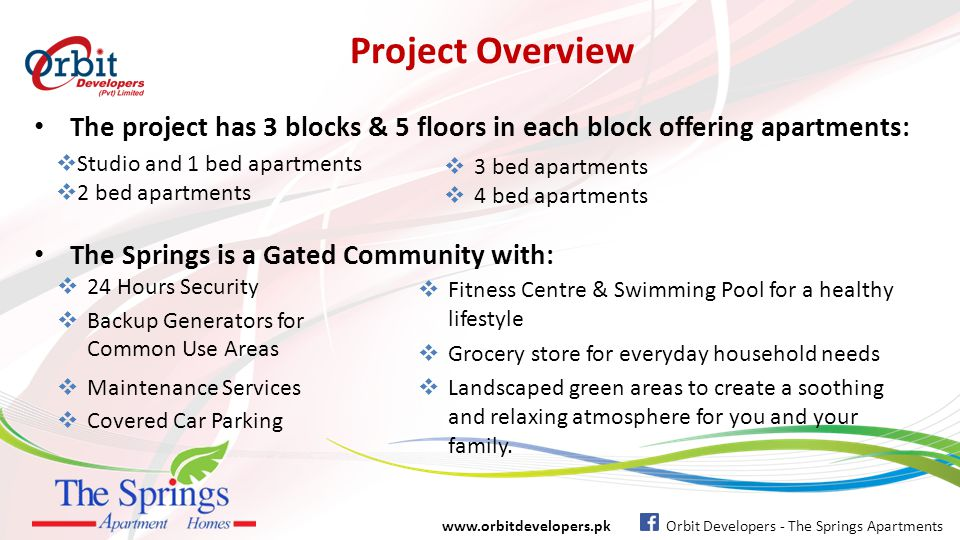 Project Overview Undoubtedly a lifetime opportunity to own your dream home in Islamabad The Springs offering a luxurious and secure living at most affordable prices and convenient payment plan of 3 years.