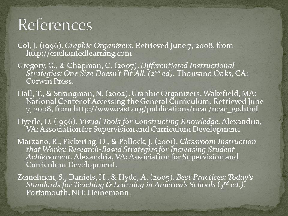 Col, J. (1996). Graphic Organizers.