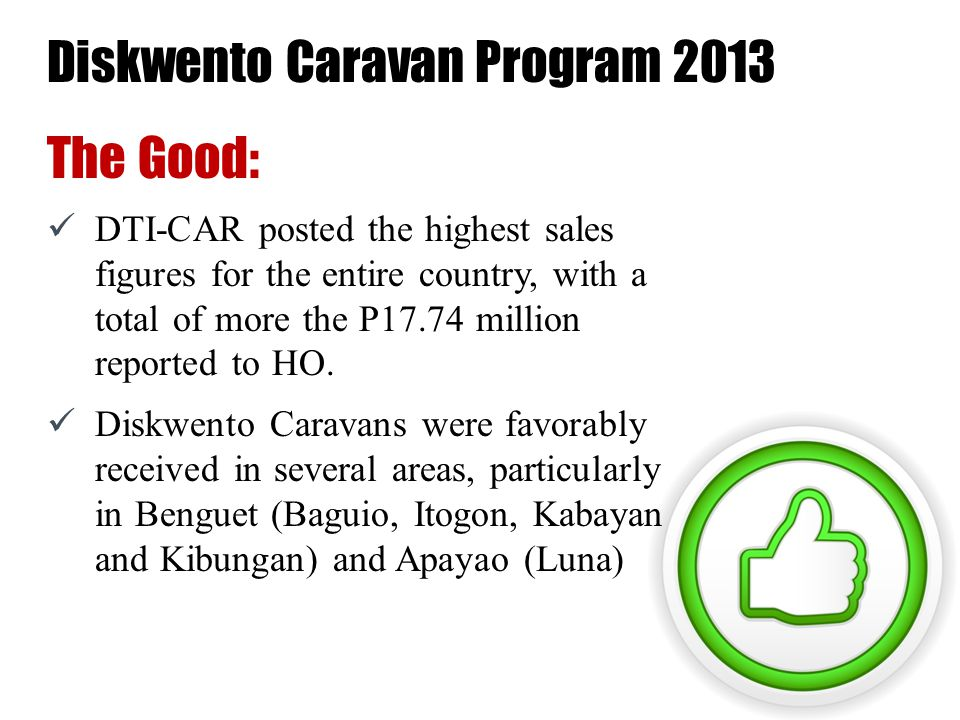 Diskwento Caravan Program 2013 Areas for Improvement: DTI-CAR was only able to implement 20 of the 23 caravans targeted for the year (86.95%).