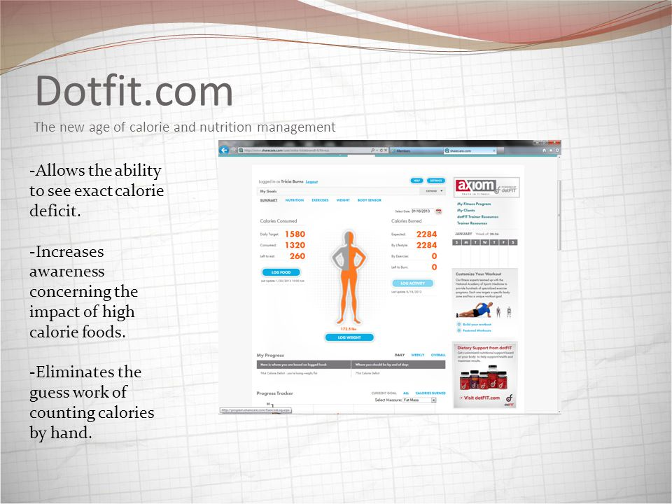 Dotfit.com The new age of calorie and nutrition management -Allows the ability to see exact calorie deficit.