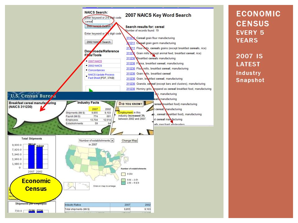 Industry Snapshot ECONOMIC CENSUS EVERY 5 YEARS 2007 IS LATEST Economic Census