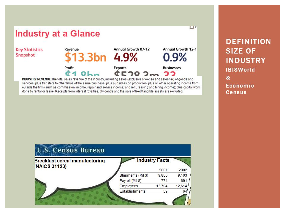IBISWorld & Economic Census DEFINITION SIZE OF INDUSTRY