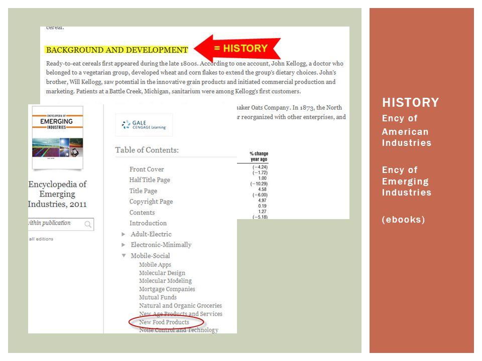 Ency of American Industries Ency of Emerging Industries (ebooks) HISTORY