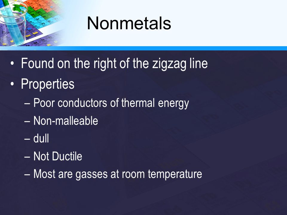 Nonmetals Found on the right of the zigzag line Properties –Poor conductors of thermal energy –Non-malleable –dull –Not Ductile –Most are gasses at ro