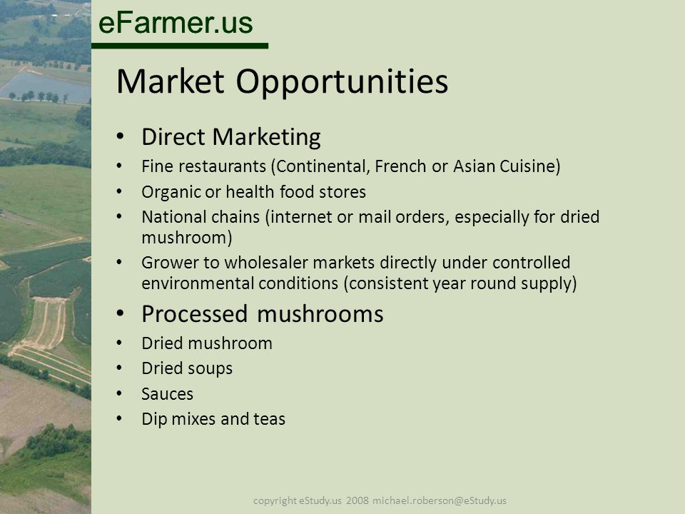 eFarmer.us copyright eStudy.us 2008 michael.roberson@eStudy.us Market Opportunities Direct Marketing Fine restaurants (Continental, French or Asian Cuisine) Organic or health food stores National chains (internet or mail orders, especially for dried mushroom) Grower to wholesaler markets directly under controlled environmental conditions (consistent year round supply) Processed mushrooms Dried mushroom Dried soups Sauces Dip mixes and teas