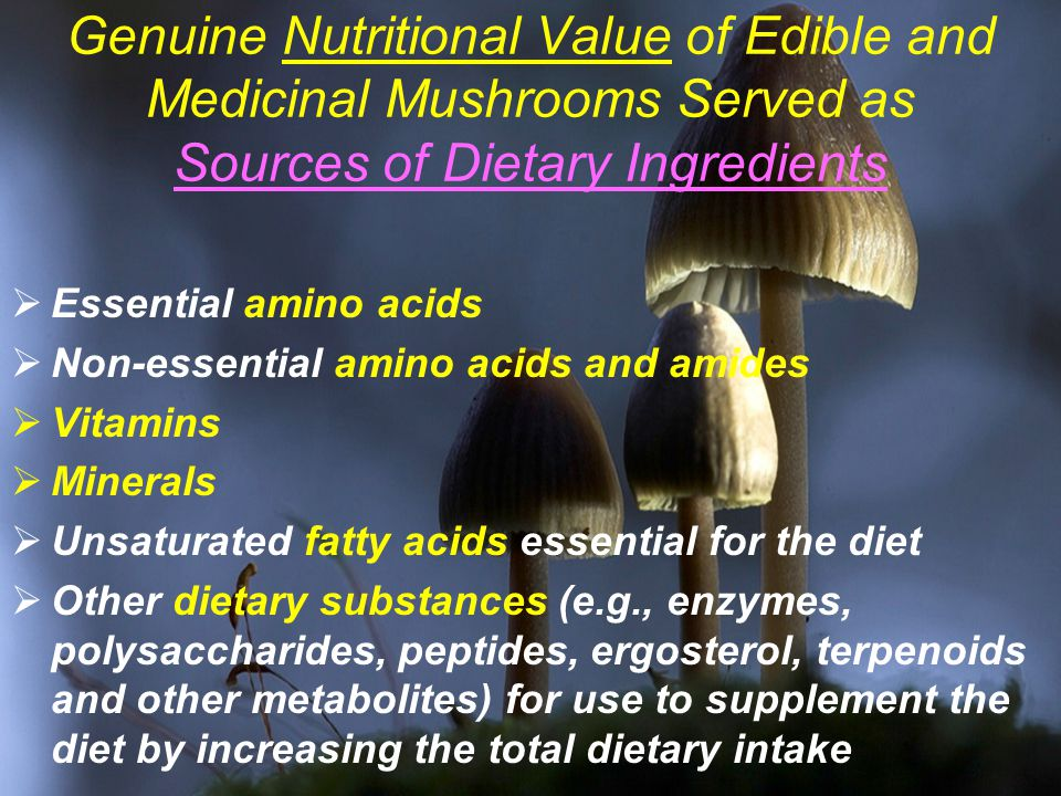 Genuine Nutritional Value of Edible and Medicinal Mushrooms Served as Sources of Dietary Ingredients  Essential amino acids  Non-essential amino acids and amides  Vitamins  Minerals  Unsaturated fatty acids essential for the diet  Other dietary substances (e.g., enzymes, polysaccharides, peptides, ergosterol, terpenoids and other metabolites) for use to supplement the diet by increasing the total dietary intake